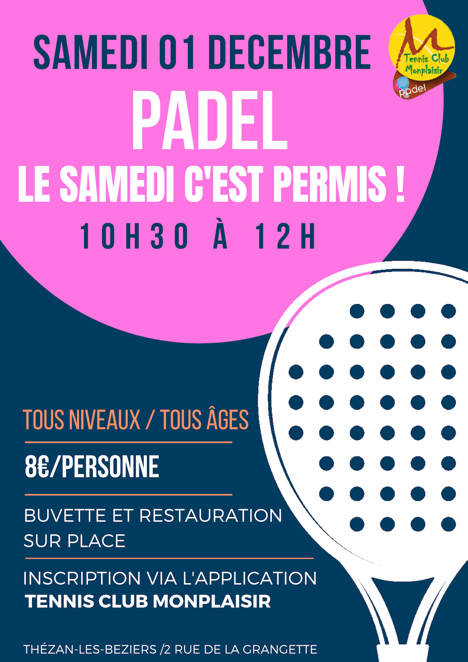 affiche animation de padel
